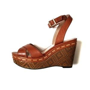 Vince Camuto Raven brown leather wedge sandals